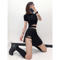 skirt Summer 2021 XS,S,M,L black Short skirt sexy low-waisted Irregular Solid color Type A