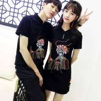 T-shirt Summer 2021 Short sleeve Crew neck easy Medium length routine commute cotton 86% (inclusive) -95% (inclusive) 18-24 years old Korean version originality Animal design Embroidery Cotton 95% polyurethane elastic fiber (spandex) 5%
