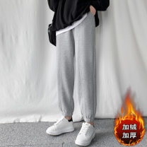 Casual pants Black 2016, grey 2016, grey plush, black Plush S,XL,L,M,XXL Winter 2020 trousers commute thickening 18-24 years old 51% (inclusive) - 70% (inclusive) other