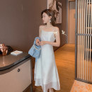 Dress Summer 2021 White, blue, black S M L XL Mid length dress singleton  Sleeveless commute High waist Solid color A-line skirt camisole 18-24 years old Fat man world Korean version 0323-02 More than 95% other Other 100%