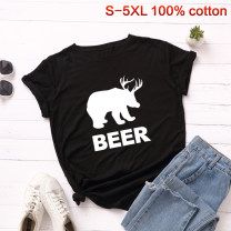 T-shirt S,M,L,XL,2XL,3XL,4XL,5XL Summer of 2019 Short sleeve Crew neck easy Regular routine street cotton 96% and above 18-24 years old originality Animal patterns, letters printing Europe and America