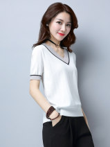 T-shirt Black, dark green, white S,M,L,XL,XXL,XXXL Summer 2020 Short sleeve V-neck easy have cash less than that is registered in the accounts routine commute other 96% and above Korean version classic Solid color HJS17526621447401 Ice silk knitwear for women