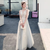 Dress / evening wear Weddings, adulthood parties, company annual meetings, daily appointments XS S M L XL XXL Picture color Korean version longuette middle-waisted Winter of 2019 Fall to the ground Deep collar V zipper 18-25 years old LJ19LF65 Sleeveless Embroidery Solid color Lanju other other