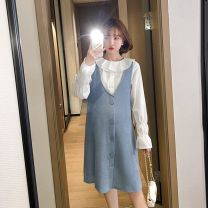 Dress Yuexu White top + blue vest skirt M L XL XXL Korean version Long sleeves have more cash than can be accounted for spring Lapel Solid color polyester