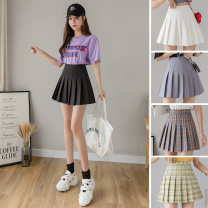 skirt Spring of 2019 XS S M L XL 2XL Two black, white, gray, pink, Navy Khaki, Avocado Green, pink, white, blue, gray, coffee, light gray, black elastic waist, white elastic waist Short skirt commute High waist Pleated skirt Solid color Type A 18-24 years old A8089 More than 95% other AI Fanzhe