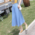 skirt Summer 2021 S,M,L,XL wathet Mid length dress commute High waist A-line skirt Solid color Type A 18-24 years old huio7986tyu9867858968iyi 81% (inclusive) - 90% (inclusive) Denim cotton Ruffles, folds, pockets, rags, buttons, zippers Korean version