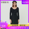 Dress Winter of 2019 black 155/XS/34 160/S/36 165/M/38 170/L/40 175/XL/42 Mid length dress singleton  Long sleeves commute Crew neck middle-waisted zipper Pencil skirt routine 30-34 years old Type H Obeg / ou Biqian Ol style More than 95% other polyester fiber Polyester 100%