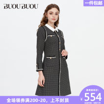 Dress Winter of 2019 155/S 160/M 165/L 170/XL 175/XXL Middle-skirt singleton  Long sleeves commute tailored collar middle-waisted zipper A-line skirt routine Others 35-39 years old Buou Buou lady 31% (inclusive) - 50% (inclusive) polyester fiber Same model in shopping mall (sold online and offline)