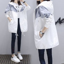 Women's large Spring 2021, autumn 2021 Gray, ginger, green, pink, b982 blue apricot, b982 yellow grey, b982 green apricot Jacket / jacket singleton  commute easy moderate Cardigan Long sleeves Solid color Korean version Hood Medium length nylon Collage routine pocket 31% (inclusive) - 50% (inclusive)