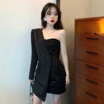 Dress Spring 2020 black S, M Short skirt Fake two pieces Long sleeves commute middle-waisted Solid color double-breasted 18-24 years old Other / other Korean version