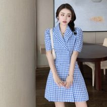 Dress Summer 2021 Blue check S, M Short skirt singleton  Short sleeve commute tailored collar High waist lattice double-breasted A-line skirt routine 18-24 years old Type A Other / other Korean version A1