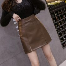 skirt Autumn 2020 S,M,L,XL Khaki, black Short skirt commute High waist skirt Solid color Type A 18-24 years old 71% (inclusive) - 80% (inclusive) other Other / other Korean version