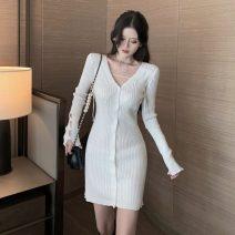 Dress Autumn 2020 White, black Average size Short skirt singleton  Long sleeves commute V-neck High waist Single breasted Pencil skirt routine 18-24 years old Type H Other / other Korean version S11.3