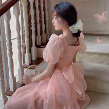 Dress Spring 2021 Orange powder S, M Mid length dress singleton  Short sleeve commute V-neck High waist Solid color Big swing puff sleeve 18-24 years old Type A Korean version N1