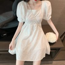 Dress Summer 2021 White, black Average size Short skirt singleton  Short sleeve commute square neck High waist Solid color Socket A-line skirt puff sleeve 18-24 years old Other / other Korean version A1