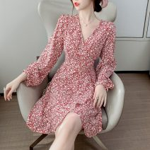 Dress Autumn 2020 Red, black S,M,L,XL Short skirt singleton  Long sleeves commute V-neck High waist Broken flowers A-line skirt puff sleeve 18-24 years old Type A Other / other Retro C9.29 Chiffon