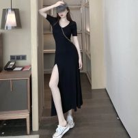 Dress Spring 2021 Black, pink Average size longuette singleton  Short sleeve commute Crew neck High waist Solid color Socket A-line skirt 18-24 years old Type A Other / other Korean version C1