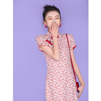 cheongsam Summer 2020 M L XL XXL XXXL Red leaves S9002 Short sleeve long cheongsam literature Low slit daily Oblique lapel Decor 18-25 years old Piping S9002-6 Wen Qing other Other 100% Pure e-commerce (online only)