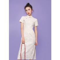 cheongsam Spring 2020 S M L XL XXL XXXL Yuluma Zhongchang bu2067 Short sleeve long cheongsam literature Low slit daily Oblique lapel Decor 18-25 years old Piping BU2067 Wen Qing other Other 100% Pure e-commerce (online only)