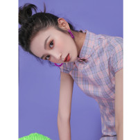 cheongsam Summer 2020 S M L XL XXL Short sleeve Short cheongsam literature Low slit daily Oblique lapel lattice 18-25 years old Piping Wen Qing other Other 100% Pure e-commerce (online only)