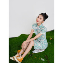 cheongsam Spring 2021 S M L XL XXL XXXL Blue flower s9122 Short sleeve Short cheongsam lady Low slit daily Oblique lapel Decor 18-25 years old Piping WQ18 Wen Qing other Other 100% Pure e-commerce (online only)