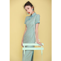 cheongsam Spring 2020 S M L XL XXL XXXL Short sleeve long cheongsam literature Low slit daily Oblique lapel lattice 18-25 years old Piping other Other 100% Pure e-commerce (online only)