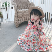 Dress White, red female Other / other 80cm,90cm,100cm,110cm,120cm,130cm Other 100% spring and autumn Korean version Long sleeves Broken flowers cotton Lotus leaf edge Class A 12 months, 9 months, 18 months, 2 years old, 3 years old, 4 years old, 5 years old, 6 years old, 7 years old