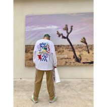 T-shirt Youth fashion white routine M,L,XL Others Long sleeves Crew neck easy daily spring youth Off shoulder sleeve Exquisite Korean style 2021 Cartoon animation printing cotton Creative interest More than 95%