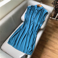 Dress Summer 2021 Emerald green 2XL,3XL Mid length dress singleton  Sleeveless commute Polo collar High waist Solid color Single breasted other routine Others 30-34 years old Type H court Button, pocket Silk and satin silk