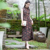Dress Summer of 2019 longuette singleton  Sleeveless commute V-neck middle-waisted Decor Socket One pace skirt Type H LanJin Retro More than 95% Silk and satin silk