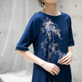 Dress Summer 2020 Sapphire blue, taro purple S. M, l, XL, custom, stock s longuette singleton  elbow sleeve commute Crew neck middle-waisted Solid color Socket A-line skirt routine Type A LanJin Retro Embroidery, pocket More than 95% hemp