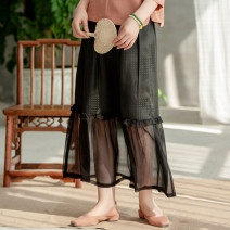 skirt Summer of 2019 S. M, l, XL, customized ~ scheduled 7-15 days delivery, s stock Black ~ Booking longuette grace Natural waist Pleated skirt Solid color Type A More than 95% Silk and satin LanJin silk