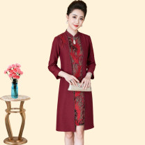Middle aged and old women's wear Spring 2021 Jujube red M, l, XL, 2XL, 3XL, 4XL noble Dress Self cultivation Fake two pieces Retro Design 50-59 years old Conjoined moderate stand collar Medium length routine Embroidery polyester zipper Short skirt Polyester other