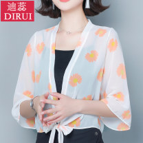 short coat Summer 2020 M L XL 2XL 3XL three quarter sleeve have cash less than that is registered in the accounts Thin money singleton  Shawl type pagoda sleeve One word collar Frenulum Plants and flowers 40-49 years old Dirui 96% and above Lace up print other Other 100% Pure e-commerce (online only)