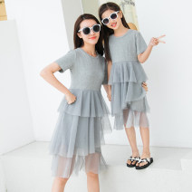 Parent child fashion Black, gray Women's dress female Other / other Mom s, mom m, mom L, mom XL, baby size 9, baby size 10, baby size 11, baby size 12, baby size 13, baby size 14 summer routine Solid color skirt cotton Class A 14 years old Chinese Mainland