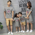 Parent child fashion Grey, white A family of three neutral Other / other summer routine Cartoon animation skirt cotton Class A 14 years old