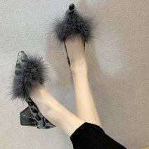 Low top shoes 34 35 36 37 38 39 40 Bourdien Black Brown Sharp point Suede Thick heel High heel (5-8cm) Shallow mouth Superfine fiber Winter of 2019 Trochanter Korean version Adhesive shoes Youth (18-40 years old) Solid color rubber Single shoes PU leisure time Frosting Pure e-commerce (online only)