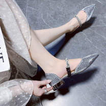 Low top shoes 35 36 37 38 39 40 Bourdien Black gray blue purple black upgrade gray upgrade blue upgrade Sharp point Sequin cloth Thick heel Low heel (1-3cm) Shallow mouth Superfine fiber Spring 2020 Trochanter Korean version Adhesive shoes Youth (18-40 years old) Solid color rubber Single shoes PU