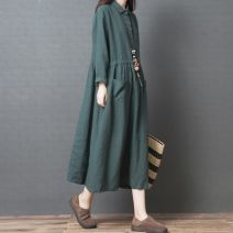 Women's large Spring 2019, autumn 2018 Green, orange M [recommended 100-120 kg], l [recommended 120-140 kg], XL [recommended 140-160 kg], XXL [recommended 160-180 kg] Dress singleton  commute easy moderate Socket Long sleeves Solid color literature Polo collar Polyester, cotton routine z929