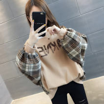 Sweater / sweater Autumn of 2019 Black and white Khaki Average size Long sleeves routine Socket singleton  routine Crew neck easy commute routine lattice 18-24 years old 96% and above Book view Korean version other Patch splicing thread Other 100% Pure e-commerce (online only)