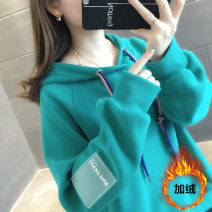 Sweater / sweater Spring of 2019 Long sleeves routine Socket singleton  Plush Hood easy commute routine Solid color 25-29 years old 96% and above Korean version other Other 100% Pure e-commerce (online only)