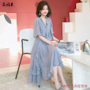 Dress Spring of 2019 S,M,L,XL,2XL,3XL,4XL,5XL longuette singleton  Short sleeve V-neck High waist Solid color Socket Big swing Lotus leaf sleeve Others 18-24 years old 71% (inclusive) - 80% (inclusive) Chiffon other