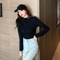 T-shirt Black and white M L XL XXL Autumn 2020 Long sleeves Half high collar Self cultivation Regular routine commute polyester fiber 86% (inclusive) -95% (inclusive) 18-24 years old Korean version youth Love Mengwei J053 Polyester 95% polyurethane elastic fiber (spandex) 5%