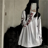 T-shirt White black M L XL XXL Autumn 2020 Long sleeves Crew neck easy Medium length routine commute polyester fiber 86% (inclusive) -95% (inclusive) 18-24 years old Korean version youth Love Mengwei Polyester 95% polyurethane elastic fiber (spandex) 5% Exclusive payment of tmall