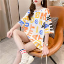 T-shirt Color letters M L XL Spring 2021 Short sleeve Crew neck easy Medium length routine commute polyester fiber 86% (inclusive) -95% (inclusive) 18-24 years old Korean version youth Love Mengwei Polyester 95% polyurethane elastic fiber (spandex) 5% Exclusive payment of tmall