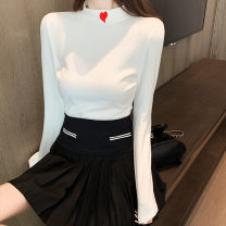 T-shirt White black M L XL XXL Autumn 2020 Long sleeves Half high collar Self cultivation Regular routine commute polyester fiber 86% (inclusive) -95% (inclusive) 18-24 years old Korean version youth Love Mengwei J050 Polyester 95% polyurethane elastic fiber (spandex) 5% Exclusive payment of tmall