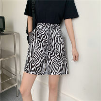 Casual pants Zebra pattern M L XL Summer 2021 shorts Wide leg pants High waist commute routine 18-24 years old 96% and above Love Mengwei polyester fiber Korean version pocket polyester fiber Polyester 95% polyurethane elastic fiber (spandex) 5% Exclusive payment of tmall Asymmetry