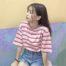 T-shirt 637 * white stripe 637 * Blue Stripe 637 * Pink Stripe M L XL 2XL Summer of 2019 Short sleeve Crew neck easy Regular routine commute other 96% and above 18-24 years old Korean version youth Thick horizontal stripe Jia Rouzi printing Other 100%