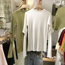T-shirt 177 * BLACK 177 * white 177 * gray 177 * green M L XL 2XL Autumn 2020 Long sleeves Crew neck Self cultivation Regular routine commute other 96% and above 18-24 years old Korean version youth Splicing Jia Rouzi JFIE70733 Other 100%