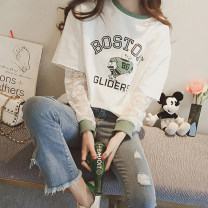 T-shirt 125 * white 125 * BLACK 707 pure black 707 pure white M L XL XXL Autumn of 2018 Long sleeves Crew neck Fake two pieces Regular routine commute other 96% and above 18-24 years old Korean version originality Cartoon animation Jia Rouzi printing Other 100%